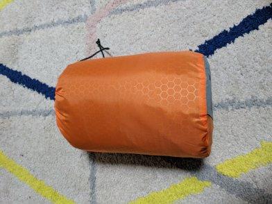 Sleeping pad in its stuff sack