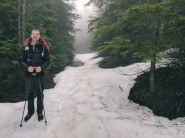 There was snow on the trail until after Elephant Lake