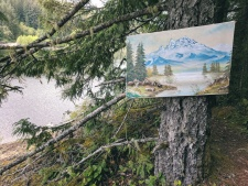 Trail art around Lois Lake